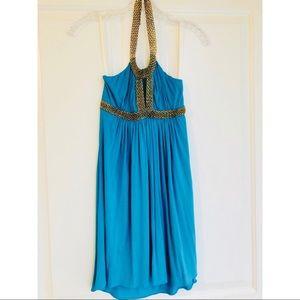 Sky Gold Chain Necklace stretch halter $249 dress